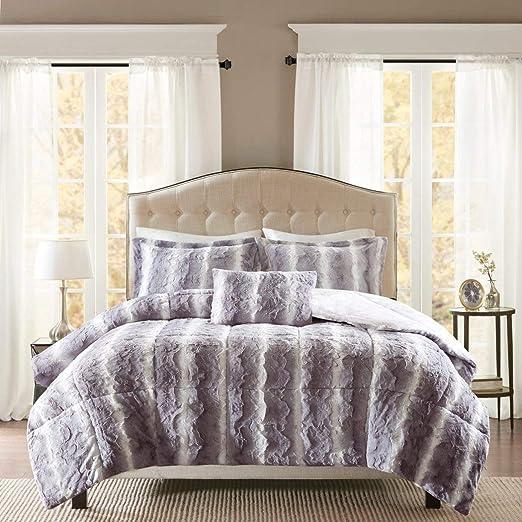 Amazon Com D H 4 Piece Silver Grey Faux Fur Comforter King Set