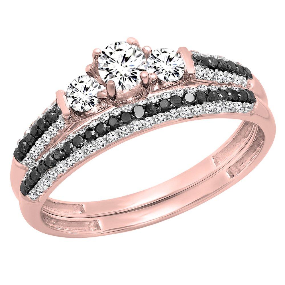 10K Rose Gold White Sapphire, Black & White Diamond 3 Stone Bridal Engagement Ring Set (Size 5.5)
