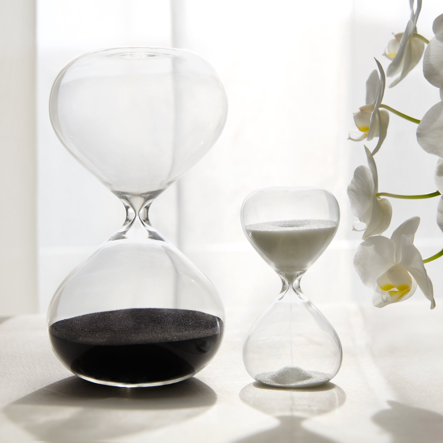30 & 5 Minute Gravity Hourglasses - Time Management Set - Deep Black & Snow White by Abergel AB-0