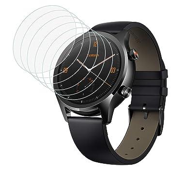 MoKo Protector de Pantalla [6 PZS] Compatible con Ticwatch C2/E2/S2, Protectora Cristal Vidrio Templado Resistente al Agua Anti-rasguñe para Ticwatch ...