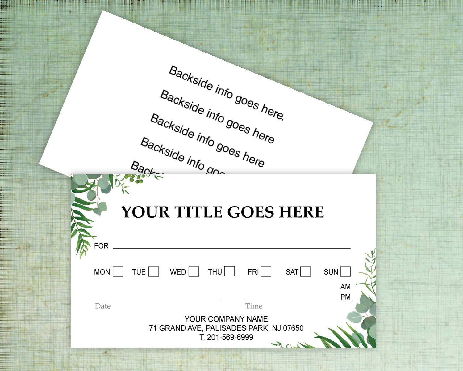 Custom Appointment Reminder Business Cards 500 Full color - Customize (front&back) - Appointment reminder card on Front, Your business card info on backside -Offset Printing, Made in The USA (Green) by IMPACTONLINEPRINTING (Image #2)