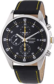 2ae1c6d4e Seiko - SNDC89P2 - Men's Watch - Quartz Chronograph - Black Dial - Black Leather  Strap
