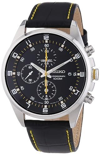 check-out 33d02 dde7a Seiko SNDC89P2 Orologio Cronografo al Quarzo, da uomo, con cinturino in  pelle, quadrante nero