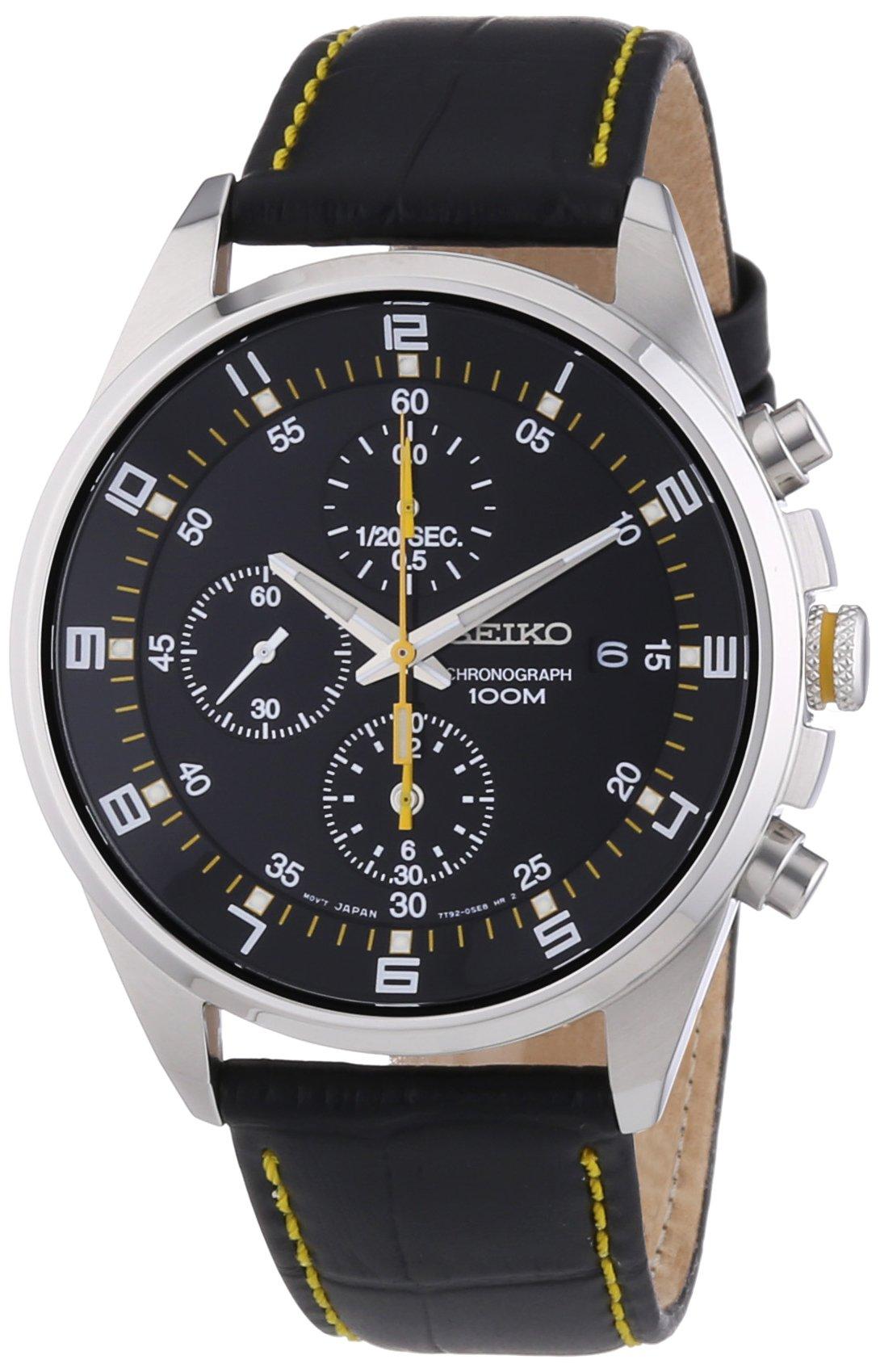 Seiko - SNDC89P2 - Men's Watch - Quartz Chronograph - Black Dial - Black Leather Strap by Seiko