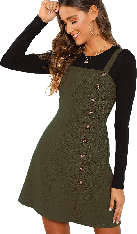 Verdusa Women's Button Front Pinafore Overall Dress