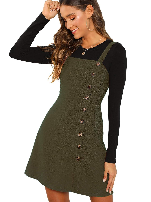 9cda969a24 Verdusa Women's Button Front Pinafore Overall Dress