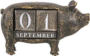 NIKKY HOME Distressed Decorative Piggy Perpetual Desk Calendar Wood Blocks, Black