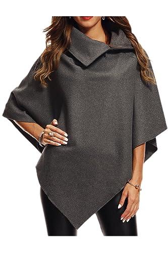 La Mujer Casual Solid Suelto Poncho Capa Capa Chales Prendas Asimétricas