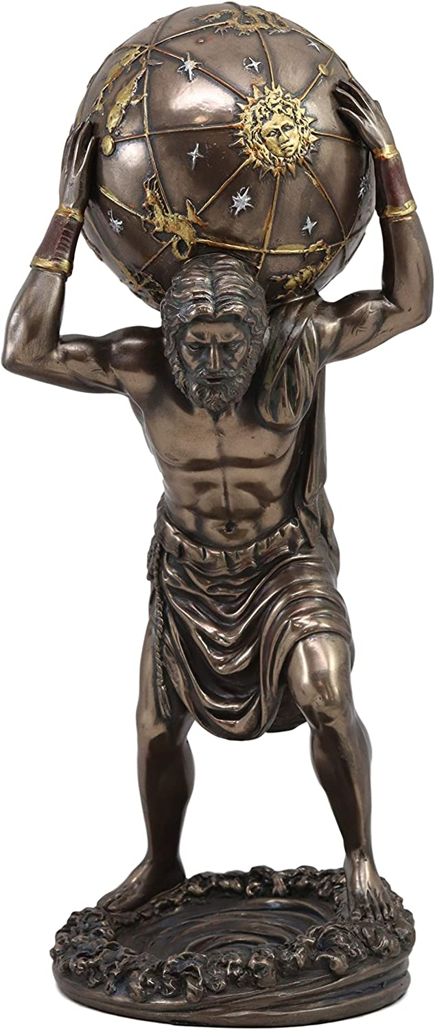 Ebros Greek God Primordial Titan Atlas Holding The World Globe Statue 11 75 Tall Gaia Ouranus Olympian War Sculpture Decor For Myths And Legends Gods