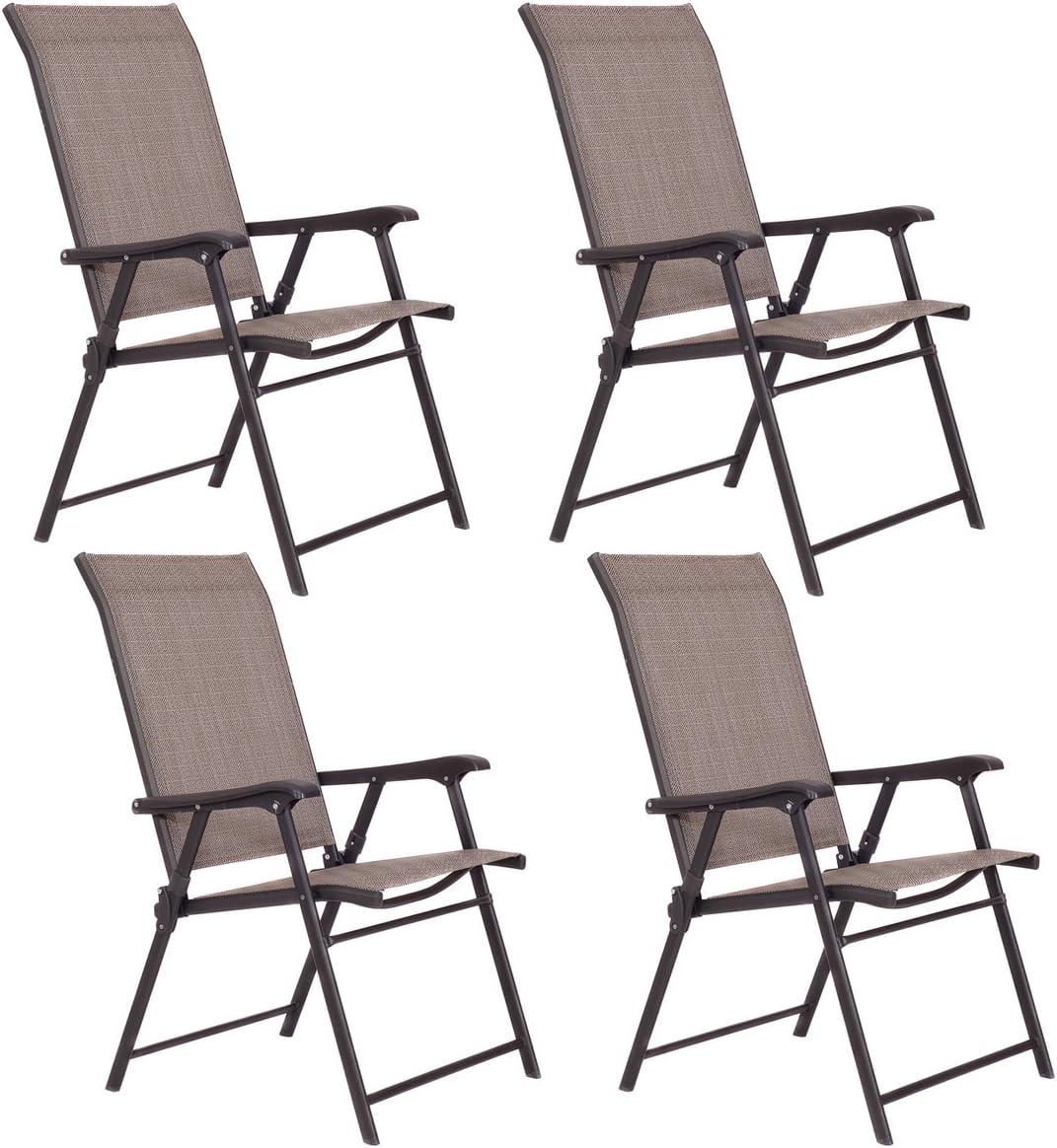 Giantex Patio Folding Sling Chairs Furniture Camping Deck Garden Pool Beach Set of 4