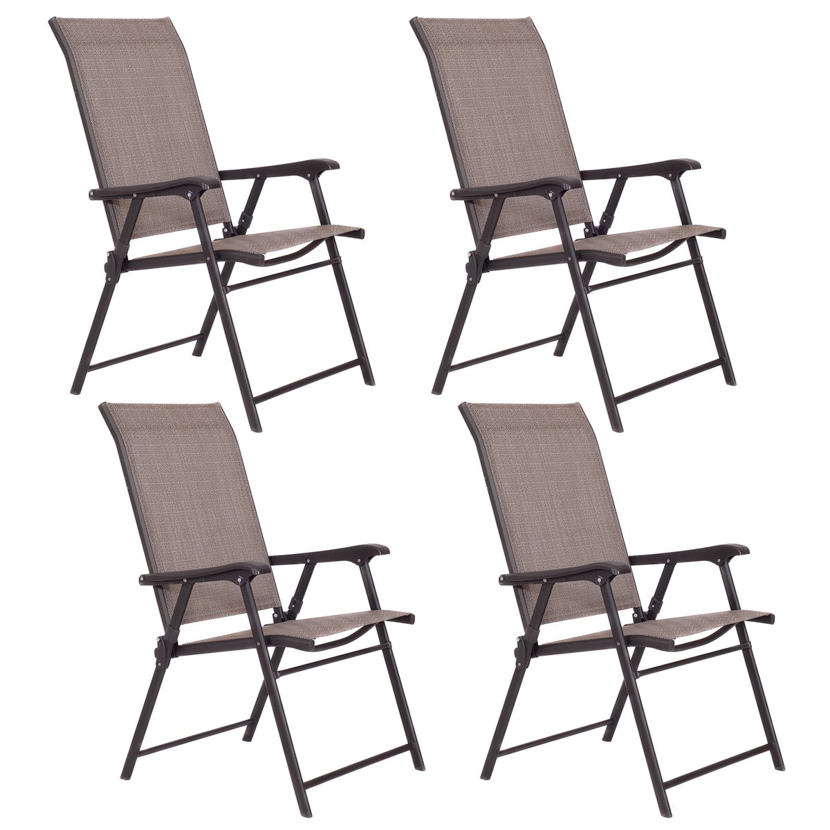 Giantex Outdoor Patio Folding Chairs Furniture Camping Deck Garden Pool Beach Set of 4
