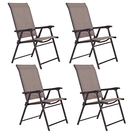 Giantex Patio Folding Sling Chairs Furniture Camping Deck Garden Pool Beach Set of 4