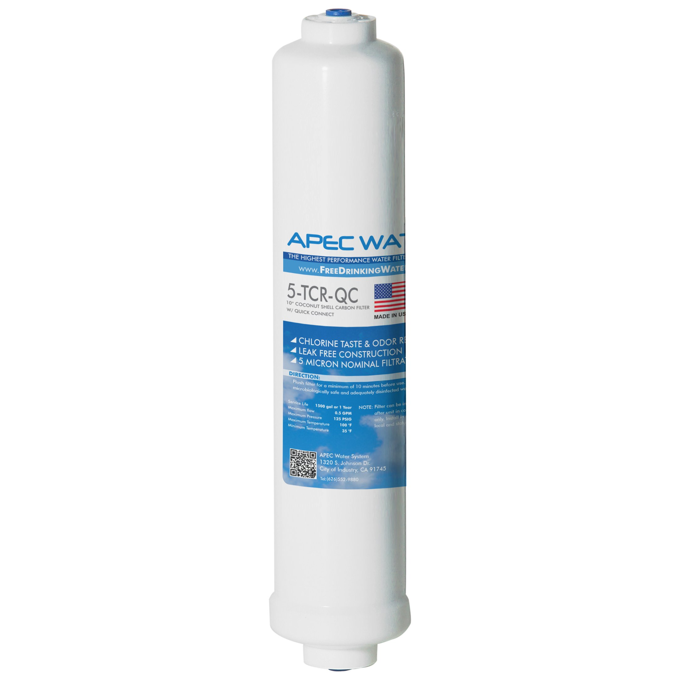 "APEC 5-TCR-QC US MADE 10'' Inline Carbon Filter with ¼"" Quick Connect For Reverse Osmosis Water Filter System (For Standard System)"