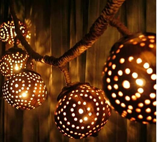 amazon com hanging coconut shell light tiki lights string