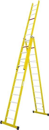 Escalera aislante de tijera con un tramo extensible, fabricada en fibra de vidrio. NO permite su uso con los tres tramos extendidos. Según norma UNE-EN 131 (12 peldaños x 3 tramos): Amazon.es:
