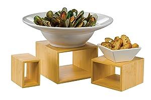 American Metalcraft BAMRN1 Natural Bamboo Riser Display Set, Brown, 3 Pieces