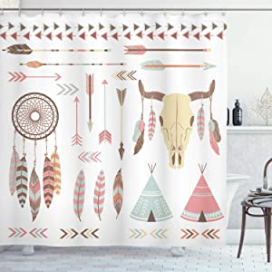 Ambesonne Native American Shower Curtain, Tribal Ethnic Elements Dreamcatcher Mountain Goat Feather Arrow Indie Print, Cloth Fabric Bathroom Decor Set with Hooks, 70 Inches, Pale Seafoam