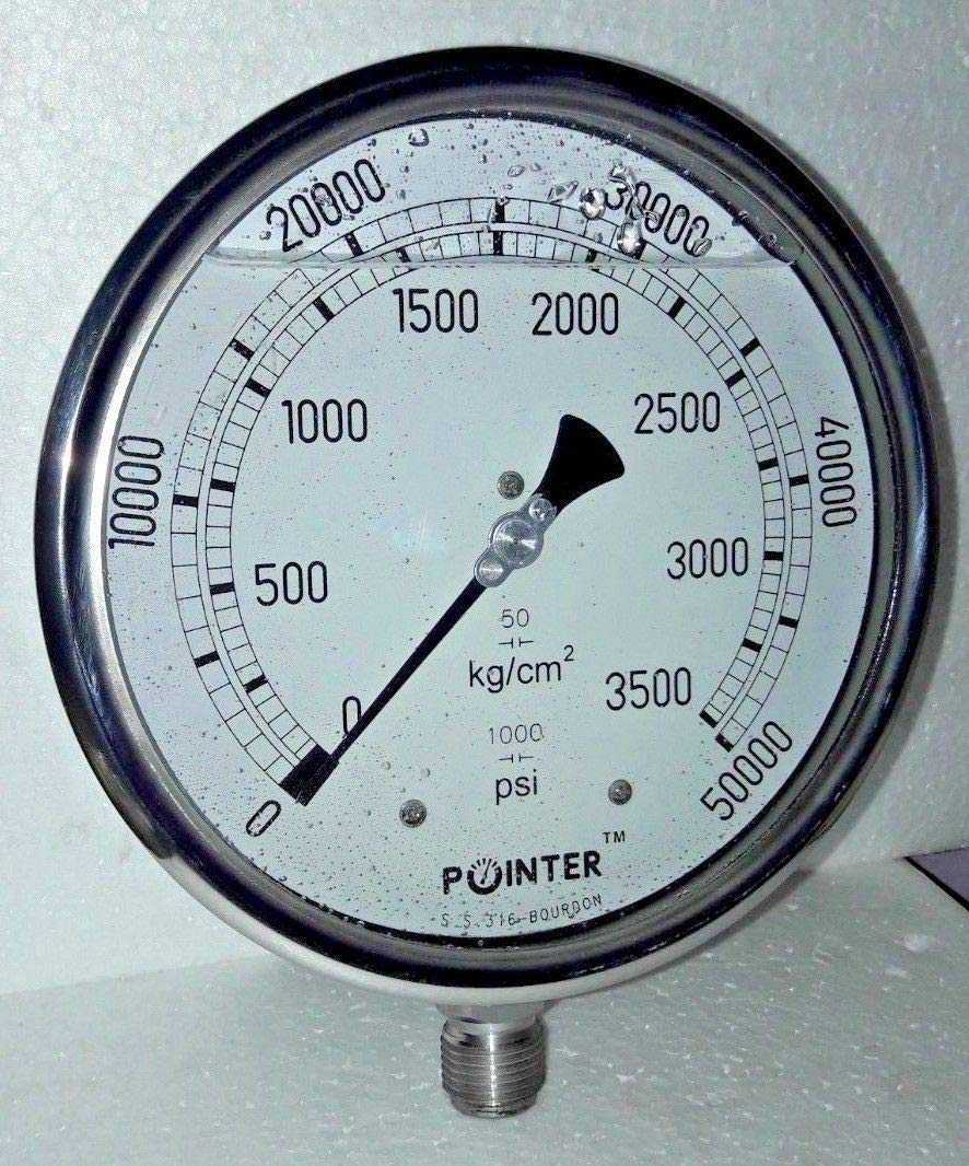 High Pressure Gauge Dual Scale 0-3500 BAR /0-50000 PSI Ideal for Common Rail New