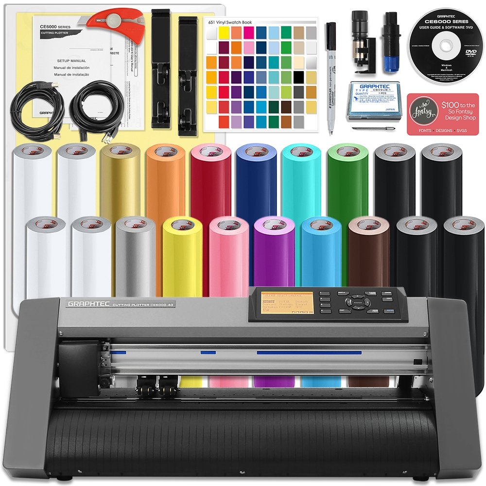 Graphtec Plus 15 Inch Desktop Vinyl Cutter & Plotter Oracal Bundle with $700 in Software and 2 Year Warranty by Swing Design