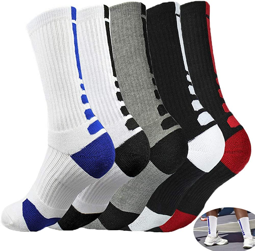 5 Pairs Basketball Socks,MENMA 5 Packs Dri-fit Cushion Basketball Socks Athletic Crew Socks for Youth Boys Girls Men Women