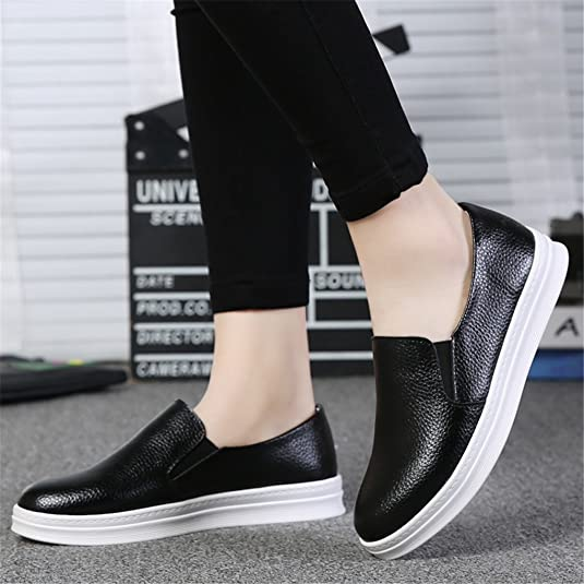 Amazon.com | YY-RUI Womens Plain Soft PU Leather Casual Driving Flats Driving Daily Sneakers Black 36 | Shoes