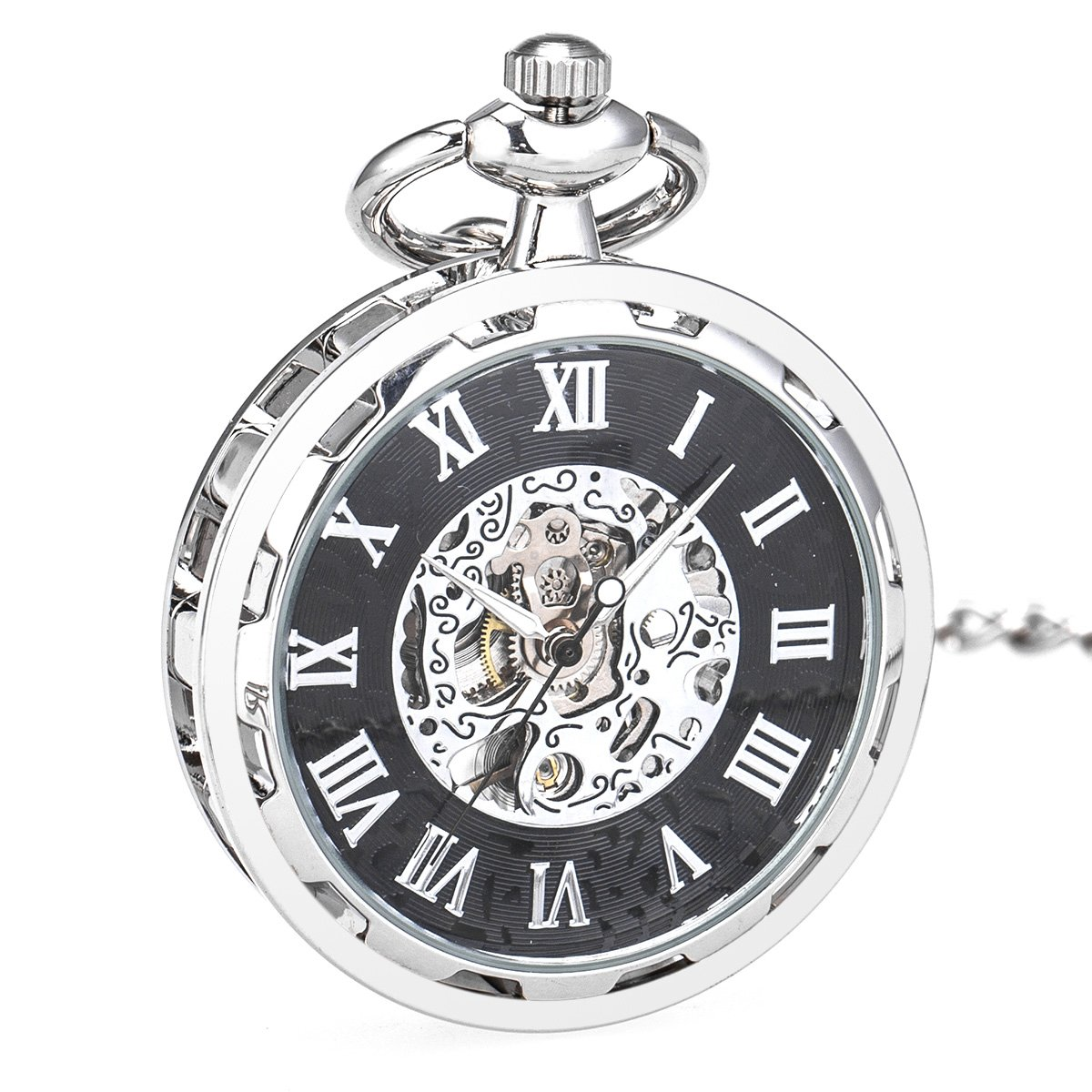 WENSHIDA Pocket Watch Open Face Skeleton Men Antique Bronze Mechanical/Hand-Wind Chain Box (3.Hand Wind, Silver Black Open Face, HBH144)