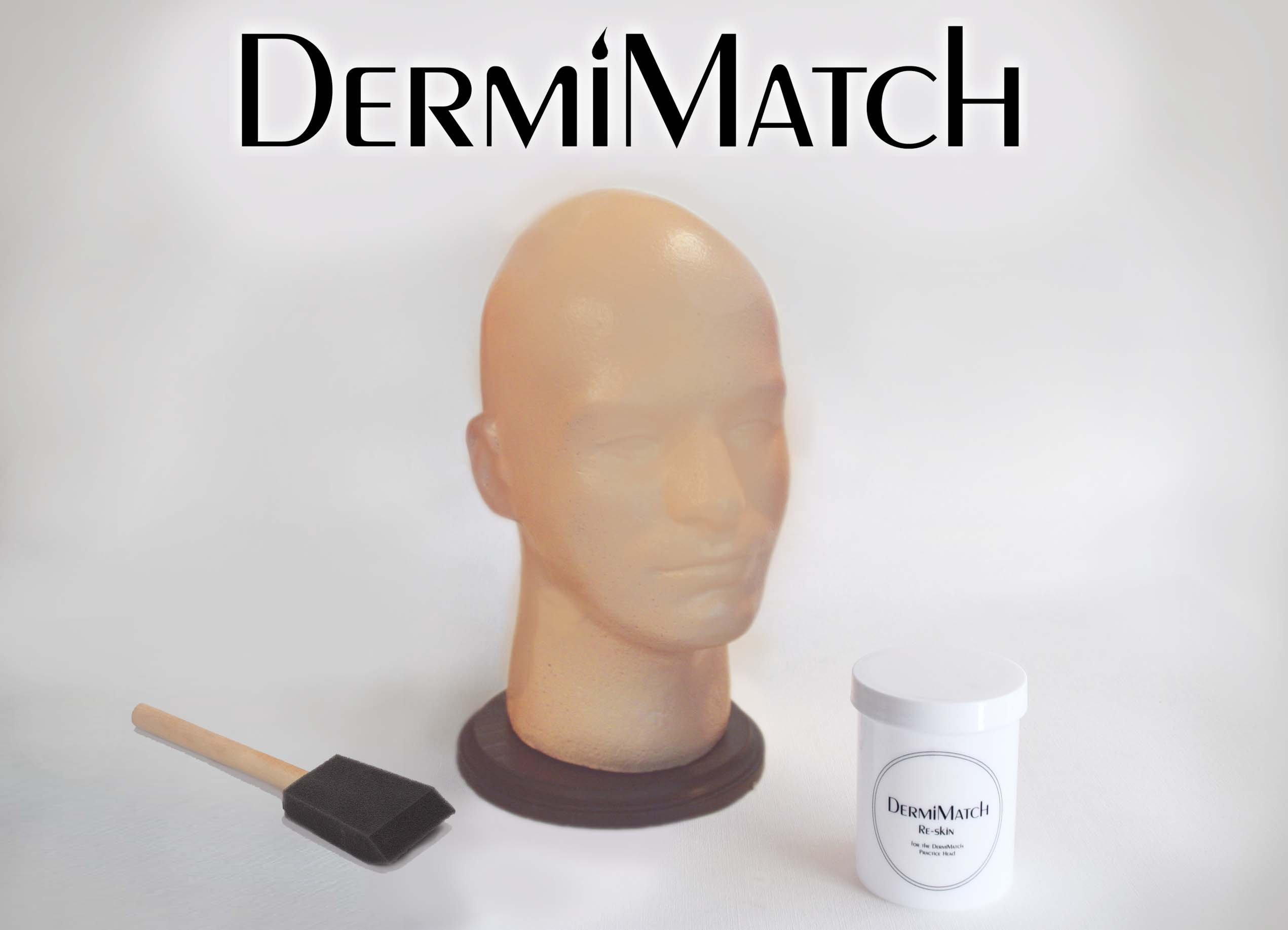 Practice Head + Re-skin Kit for smp scalp micropigmentation by DermiMatch
