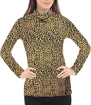 TeeJeans - Camiseta de Manga Larga - Animal Print - Cuello de Polo ...