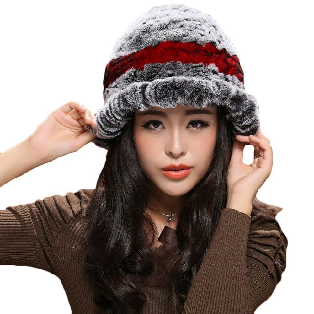 MINGXINTECH womens real rabbit fur falbala short length peak cap casquette ladies