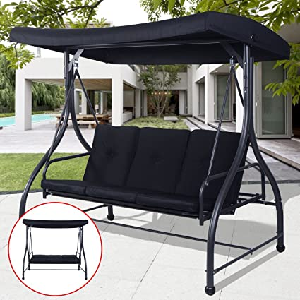 Amazon.com: Acolchada 3 plazas silla de porche Swing – por ...