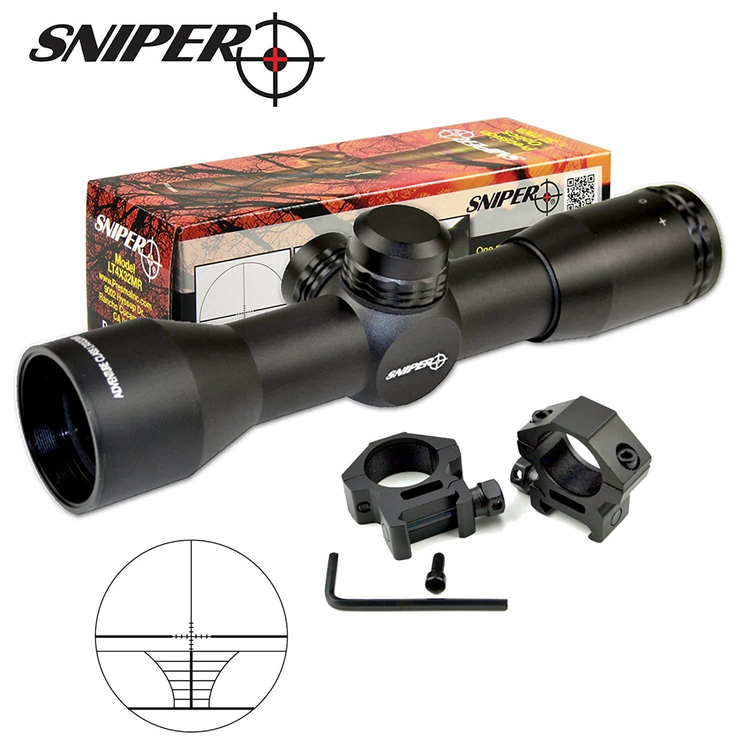 SNIPER Compact Rifle Scope 4x32 with Ring, Hunting Scope LT4X32M