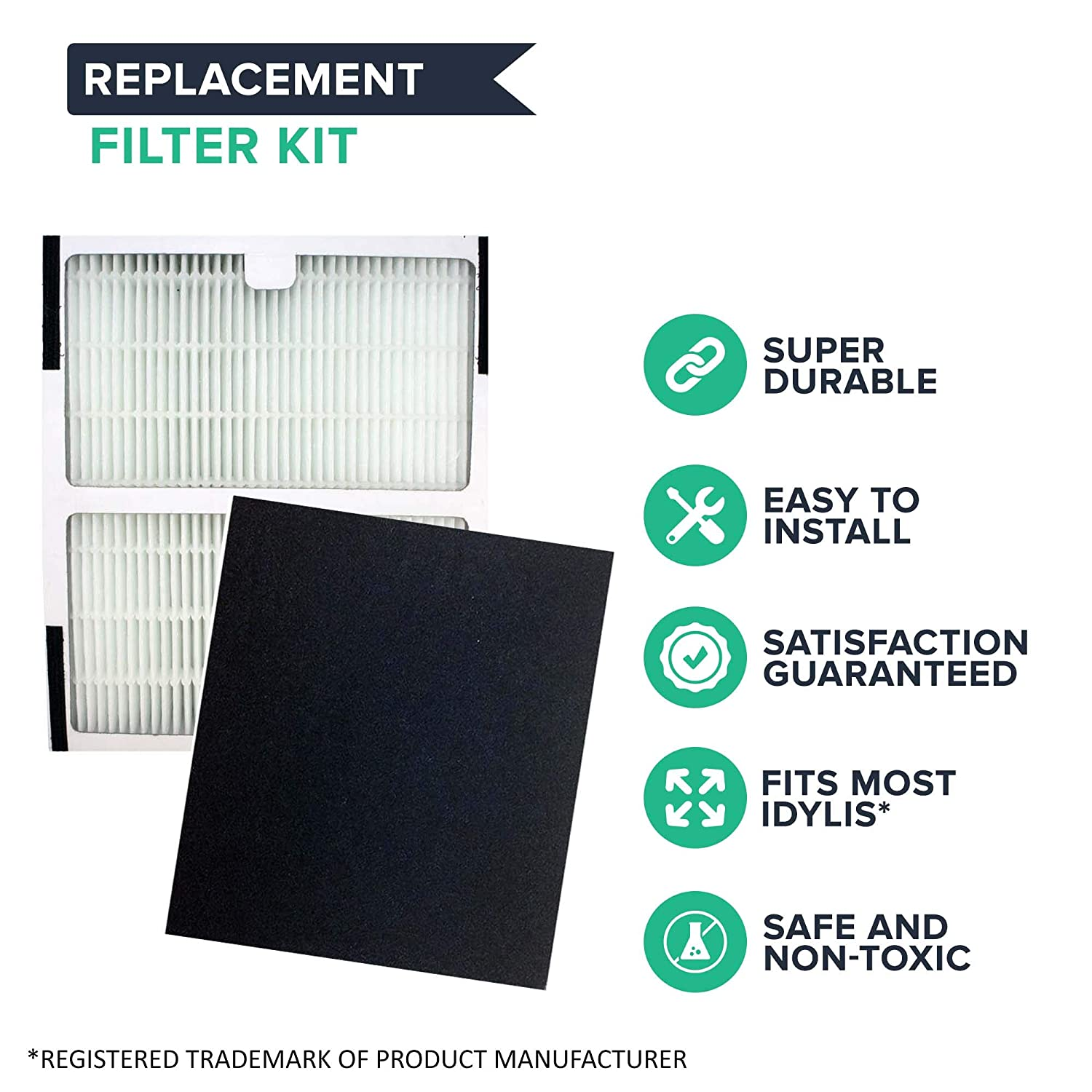2 Pack Think Crucial 302656 IAP-10-150 Model Filter Kit Fits Idylis IAP-10-125 Crucial Air Replacement Air Filter Compatible with Idylis HEPA Style B Air Purifier Filter /& Carbon Filter Part # IAF-H-100B Bulk