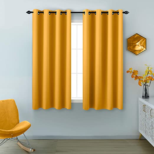 Amazon Com Yellow Curtains 45 Inch Length For Small Windows 2 Panels Grommet Room Darkening Drapes Blackout Short Curtains For Bedroom 52 X 45 Inches Long Kitchen Dining