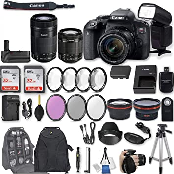 Canon Eos Rebel T7i Dslr Camera With Ef S 18 55mm F 4 5 6 Is Stm Lens Ef S 55 250mm F 4 5 6 Is Stm Lens 2pcs 32gb Sandisk Sd Memory Universal