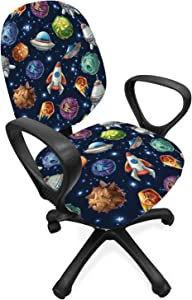 Lunarable Outer Space Office Chair Slipcover, Comic Style Cosmos Elements Alien Planets and Spaceships, Protective Stretch Decorative Fabric Cover, Standard Size, Navy Blue