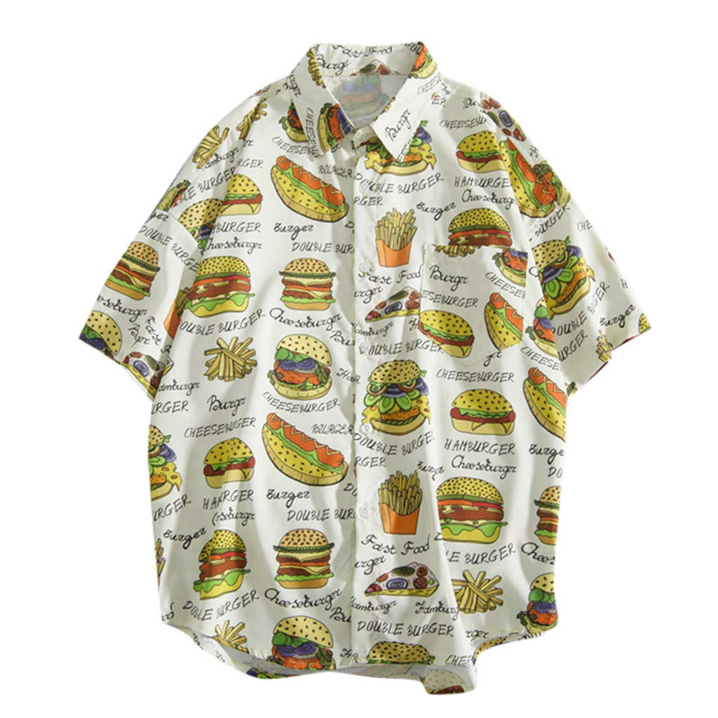 Mens Casual Shirts,RNTOP Hawaiian Shirt Men Shortsleeve Frontpocket Hawaiian-Print Melon Flamingo Fruits
