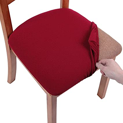 4Pcs Square Round Stretch Dining Wedding Chair Seat Cover for 35-50cm Golden