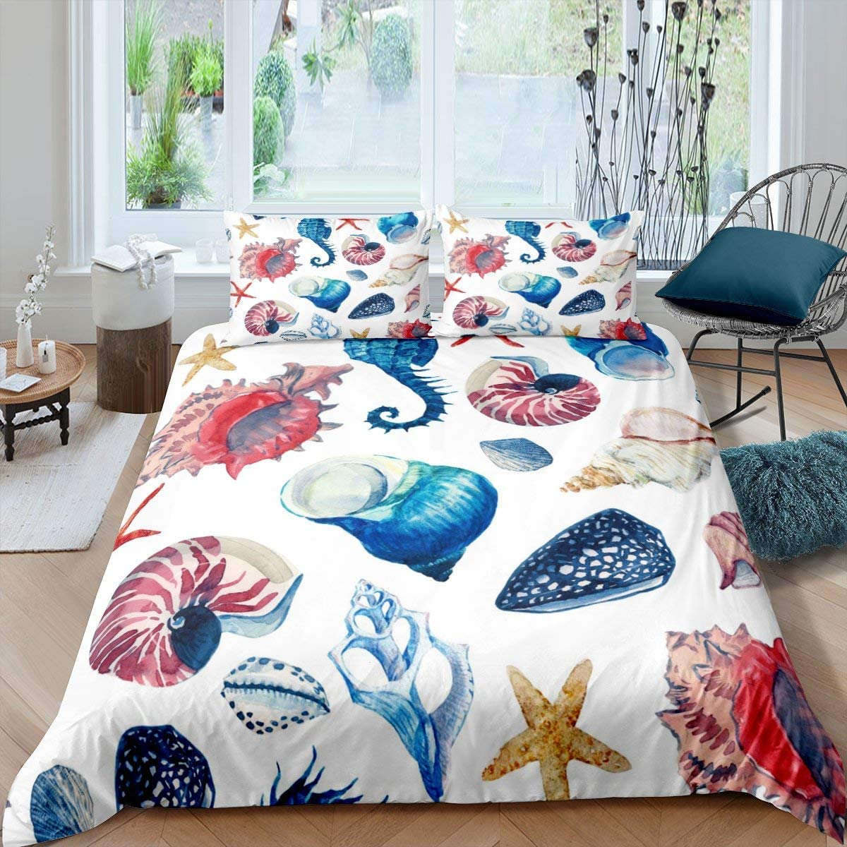 Conch Tie Dye Duvet Cover Various Conch Bedding Set Hawaiian Beach Shell Comforter Cover For Kids Boys Girls Teens Ocean Marine Life Bedclothes Bedroom Decor With 2 Pillow Cases Queen Size Blue Red