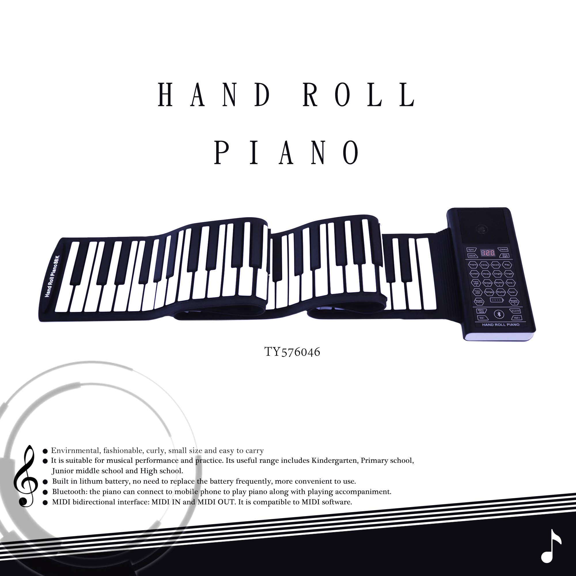 iLearnMusic Roll Up Piano Premium Grade Silicone |THICKENED KEYS | Upgraded Built-in Amplifying Speakers | Portable Piano Keyboard MIDI USB (88 Keys) by Kiker Music (Image #2)