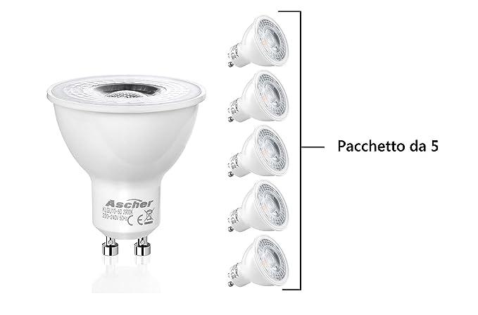 Top SHOP Ascher Pack de 5 Bombillas LED GU10 regulable 5 W led 420 lm clase