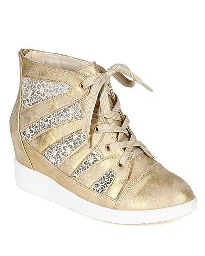 Women Metallic Leatherette Lace Mesh Wedge Sneaker CC60 - Gold (Size  9.0)
