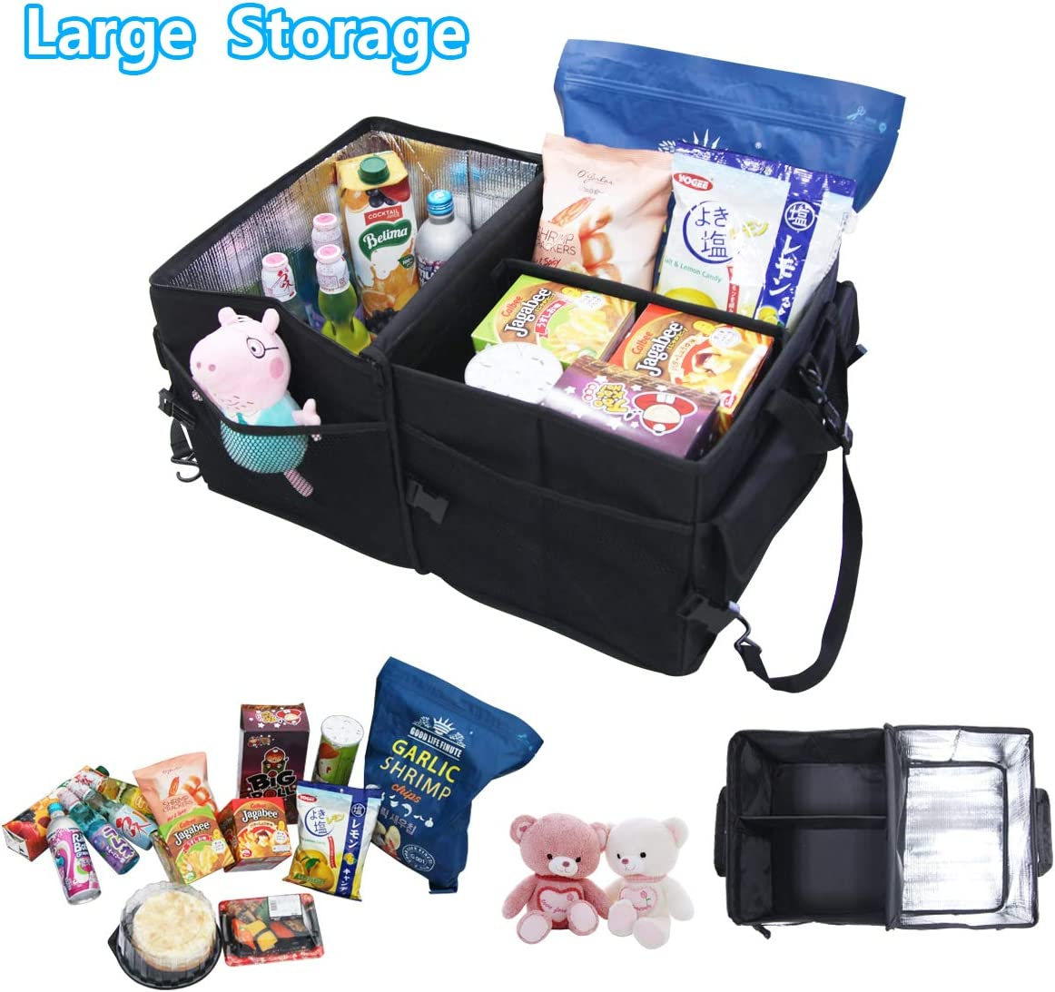 Compartment Collapsible Portable Trunk Storage Container with Non Slip Bottom Strips Foldable Waterproof Cover Car Storage Box for SUV Tepoinn Car Trunk Organizer with Cooler