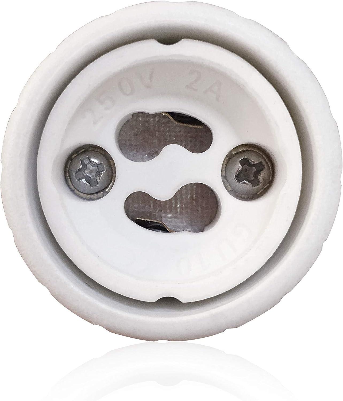 No Fire Hazard Up to 220 Degrees Maximum Wattage 500W Heat Resistant Plug Light Bulb Socket Adapter Pack of 5 VARICART GU10 to E26//E27 Lamp Base Converter