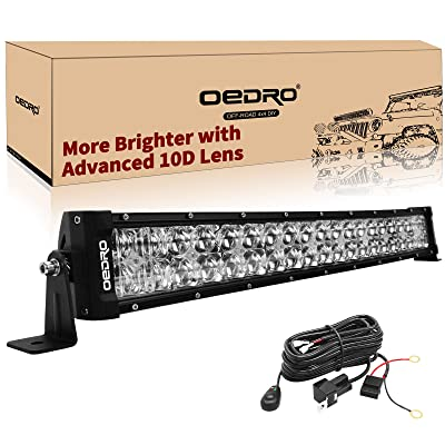 "LED Light Bar 22"" Curved 400W 28500LM OEDRO Upgraded Spot & Flood Combo Beam with 8ft Wiring Harness IP68 WATERPROOF Fit for Fog Driving Offroad Pickup Boat Jeep SUV ATV Truck Light Bar, 3-Yr Warranty: Automotive"