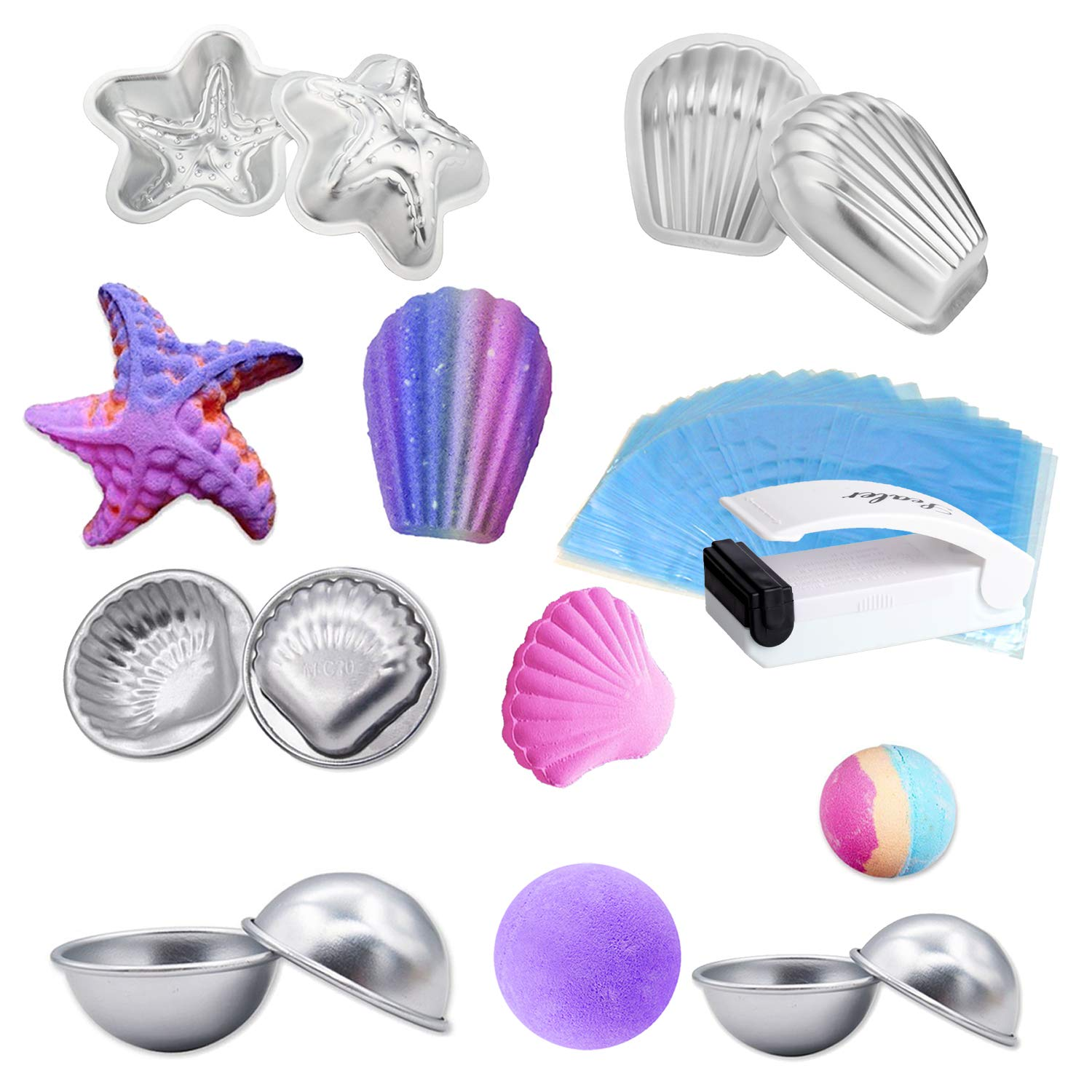 LAWOHO DIY Metal Bath Bomb Mold Handmade Soap Maker Kit Fizzles Crafting Supplies 5 Set 10 Pieces with 100 Pieces Shrink Wrap Bags and 1 Piece Mini Heat Sealer