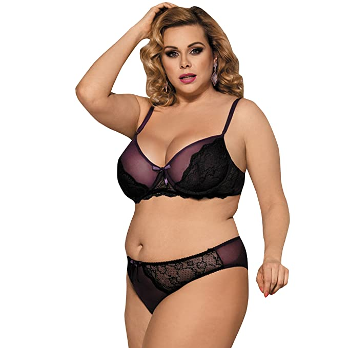 a6c86f63692 RwalkinZ Women Plus Size Bra Panty Two Pieces Bedchamber Sexy Lingerie  Purple M