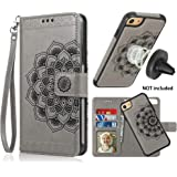 CASEOWL iPhone 7/iPhone 8/SE 2nd (2020) Case Wallet with Detachable Slim Case Fit Magnetic Car Mount, Card Solts Holder, Embossed Mandala Pattern Flower Floral Vegan Leather Flip Wallet Case [Gray]