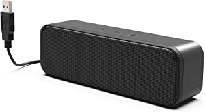 [2021 Newest] USB Computer Speaker, PC Speaker for Laptop, Desktop Computer, Portable Small Sound Bar with Sound, Loud Volume & Rich Bass – Upgraded with Volume Control