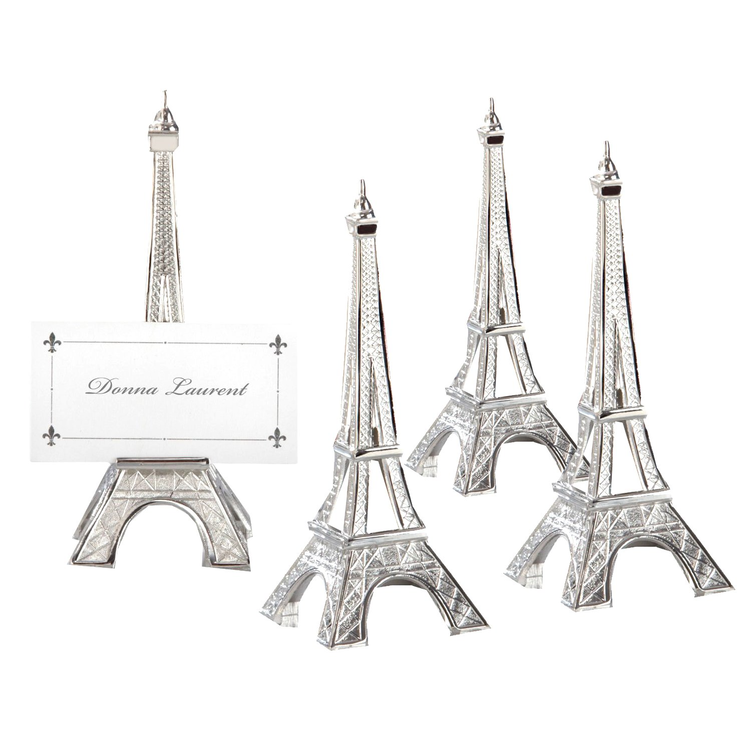 Evening in Paris Eiffel Tower Silver-Finish Place Card Holder set of 4 (Set of 18) - Party Favors by Kate Aspen