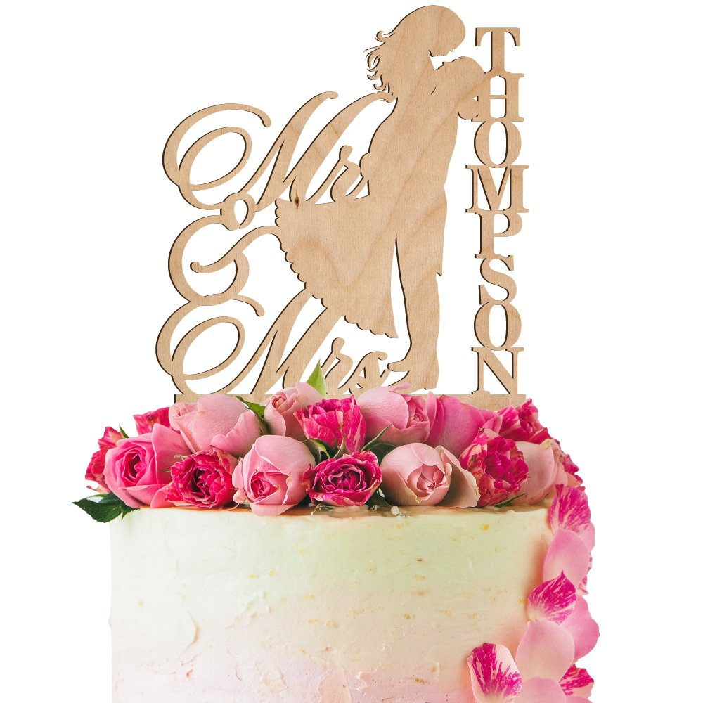 Personalized Wedding Cake Topper Customized Mr. and Mrs. Last Name 4 Color Type and 24 Colors Design 6 (Wood Colors)